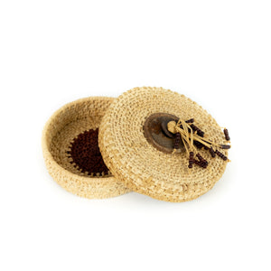 James Ebbert Raffia Basket with Beaded Top