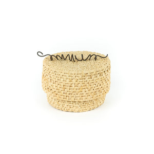 James Ebbert Raffia Basket with Spiral Wire Top
