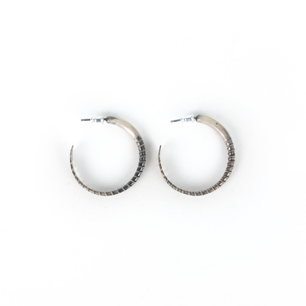 Stacey Lee Webber Silver Screw Hoop Earrings