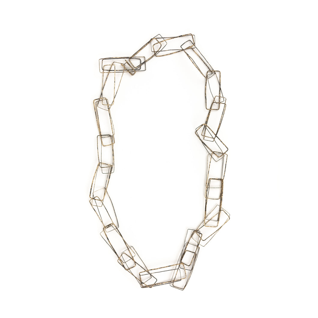 Biba Schutz Bronze with Tortoise Patina Interlocking Rectangle Necklace