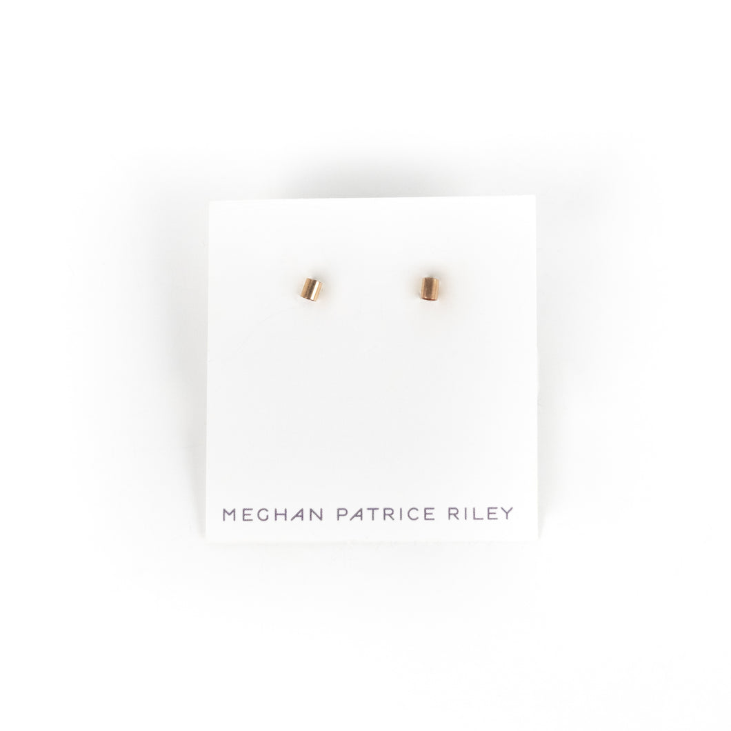 Meghan Patrice Riley Small Rose Gold Tube Post Earrings