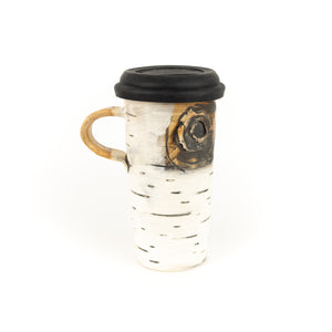 Lenore Lampi Ceramic Birch Motif Travel Mug