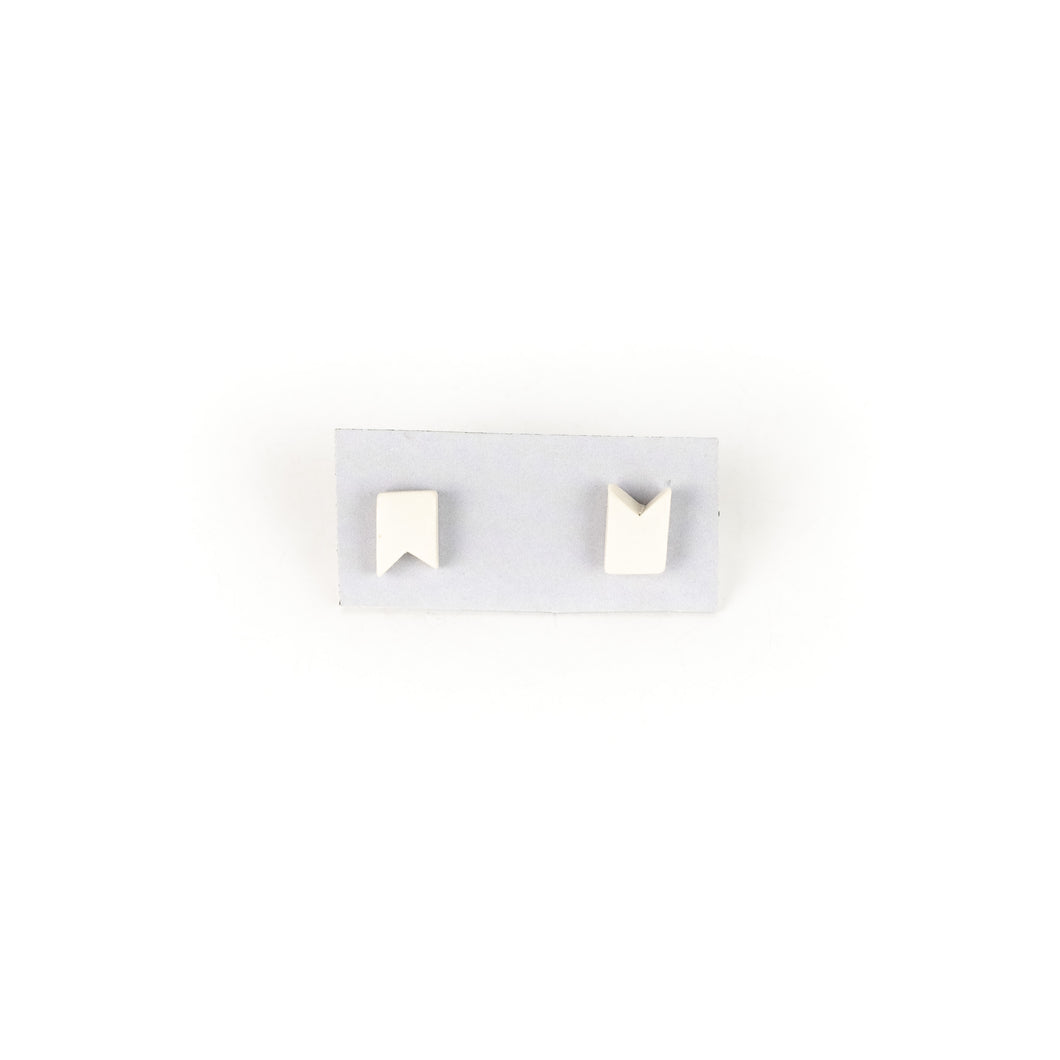Jenna Vanden Brink Ivory Porcelain Flag Earrings