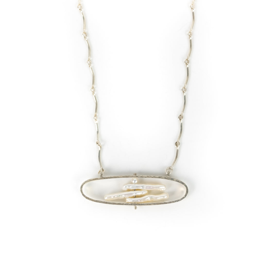 Sue Amendolara Silver & Pearl Oblong Pendant Necklace