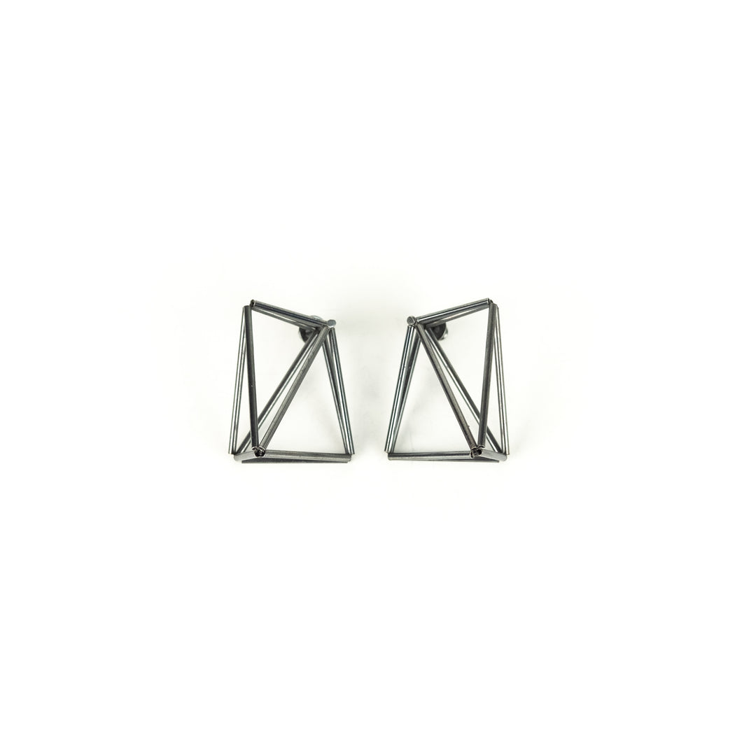 Emilie Pritchard Oxidized Sterling Silver Double Triangle Geometric Earrings