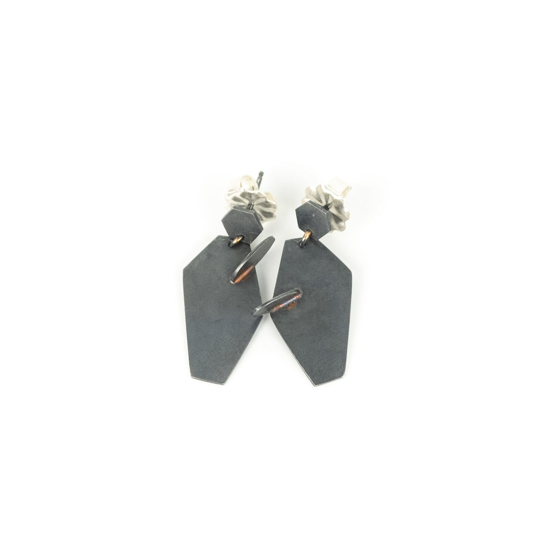 Tegan Wallace Oxidized Silver & Gold Collage Earrings