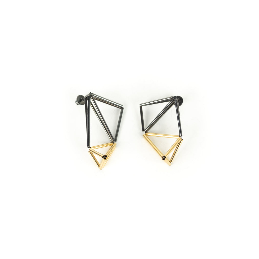 Emilie Pritchard Oxidized Sterling Silver & Gold Three Triangle Earrings
