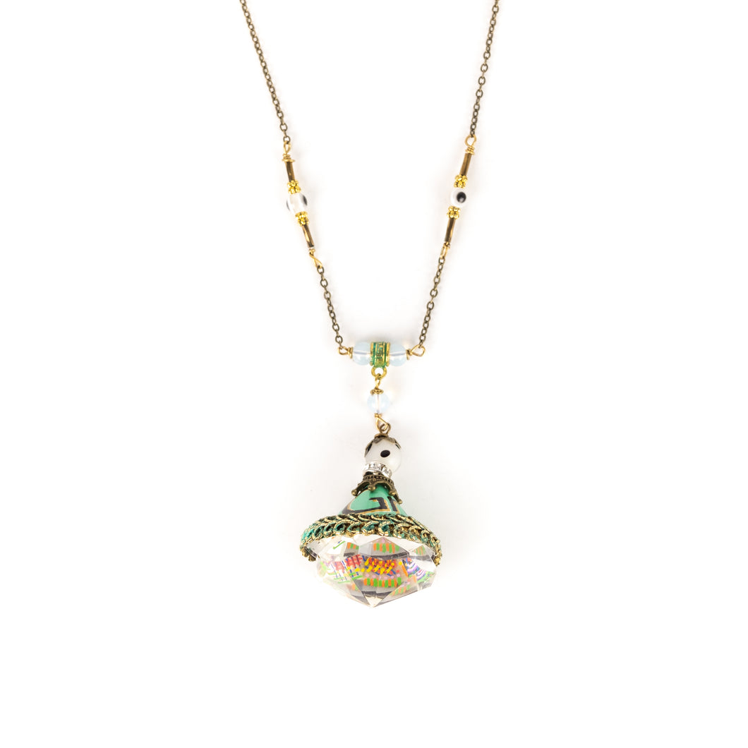 Gerry Florida Green Tea Can Crystal Pendant Necklace