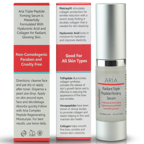 Aria Triple Peptide Firming Serum bottle and box panel view