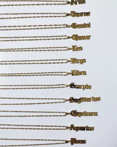 Astrology Necklace (Old English Font) in Yellow Gold