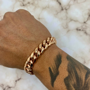 Cuban Link Bracelet (12mm) in Rose Gold