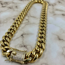 Load image into Gallery viewer, Cuban Link Choker (14mm) w/ Diamond Clasp in Yellow Gold
