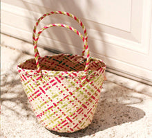 Load image into Gallery viewer, Coco Palm Straw Bag-Pink Lemonade - Roseland y Mar