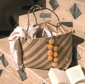 Borneo Sani Stripes Straw Tote Bag - with Marigold Tiered Pom-poms - Roseland y Mar