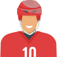 A cartoon hockey player.