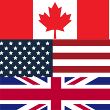 The Canadian, American, and English flags stacked ontop of each other to create a square.
