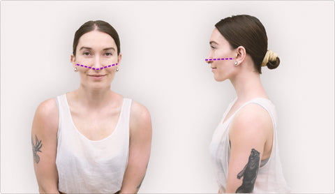 Image of a woman with a dotted line from each ear to the tip of her nose, indicating that, that's where you measure