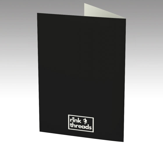 the back of a greeting card that is all black except for the Rink Threads logo.