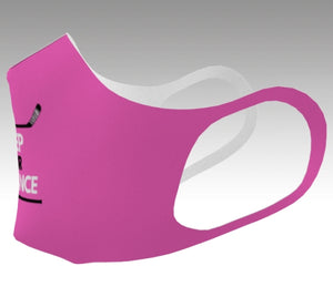 A sideview mockup of a mask it is pink and just the tip of a graphic is shown.