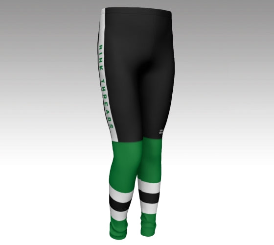 "Mockup of leggings The leggings have a graphic that look like black hockey pants (with a Rink Threads logo above the left knee and ""Rink Threads"" Written up the side in green) and Green hockey socks with two white stripes and a black stripe between them."