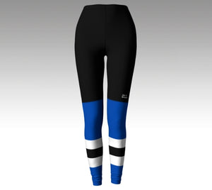 Mockup of leggings The leggings have a graphic that look like black hockey pants (with a Rink Threads logo above the left knee) and blue hockey socks with two blue stripes and a black stripe between them.