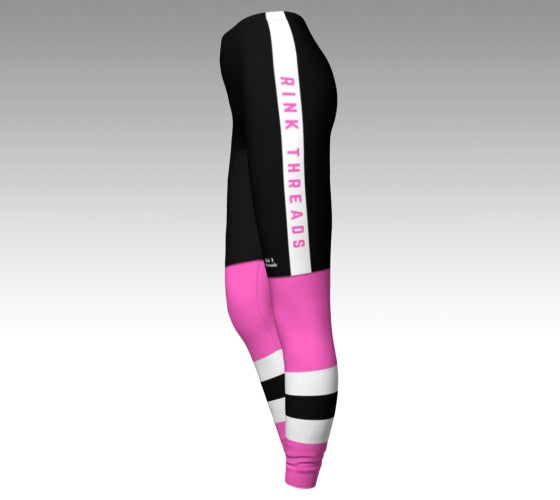 "Mockup of leggings The leggings have a graphic that look like black hockey pants (with a Rink Threads logo above the left knee and ""Rink Threads"" Written up the side in pink) and pink hockey socks with two pink stripes and a black stripe between them."