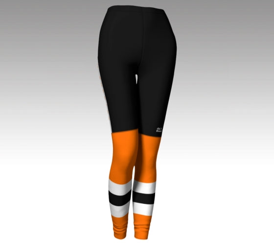 "Mockup of leggings The leggings have a graphic that look like black hockey pants (with a Rink Threads logo above the left knee and ""Rink Threads"" Written up the side in orange) and orange hockey socks with two whitee stripes and a black stripe between them."