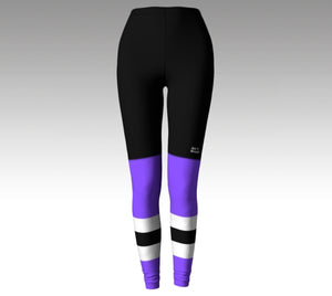 Mockup of leggings. The leggings have a graphic that look like black hockey pants (with a Rink Threads logo above the left knee) and purple hockey socks with two whitee stripes and a black stripe between them.