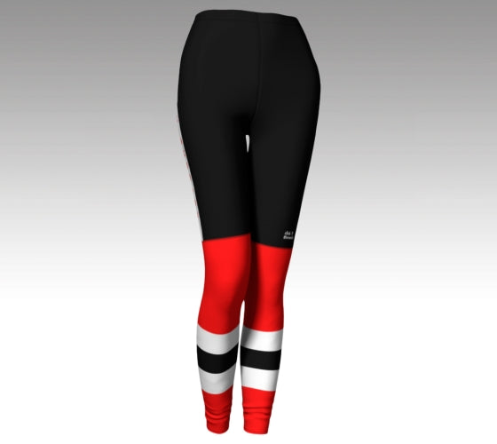 Mockup of leggings. The leggings have a graphic that look like black hockey pants (with a Rink Threads logo above the left knee) and red hockey socks with two whitee stripes and a black stripe between them.