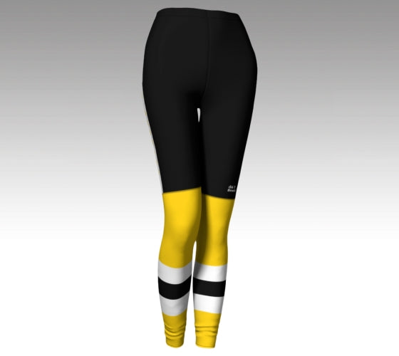 Mockup of leggings. The leggings have a graphic that look like black hockey pants (with a Rink Threads logo above the left knee) and yellow hockey socks with two whitee stripes and a black stripe between them.