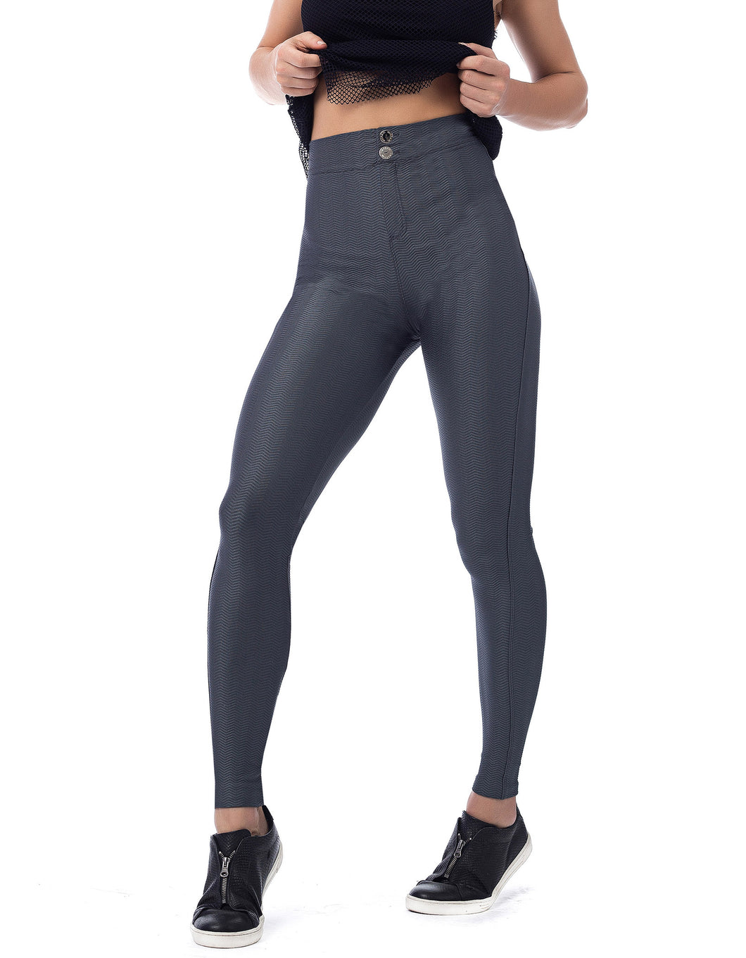 Gray Textured High Waist Legging