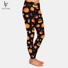"Laden Sie das Bild in den Galerie-Viewer, LetsFind High Waist Leggings im ""Halloween Pumpkin"" Design"