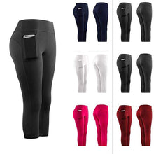 "Laden Sie das Bild in den Galerie-Viewer, Atmungsaktive High Waist Capri Sports Leggings mit Seitentasche im ""Perfect Fit"" Design in verschiedenen Farben"