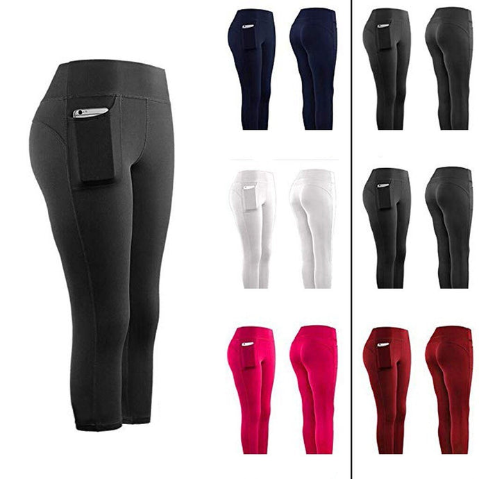 Atmungsaktive High Waist Capri Sports Leggings mit Seitentasche im