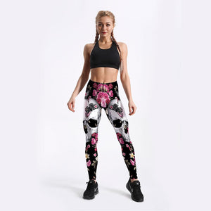 "Quickitout Atmungsaktive High Waist Leggings im ""Skull & Flower Print"" Design krasse-leggings-de.myshopify.com"