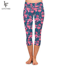 "Laden Sie das Bild in den Galerie-Viewer, LETSFIND Elastische Plus Size High Waist Leggings im ""Cute Pink Flamingo"" Design krasse-leggings-de.myshopify.com"