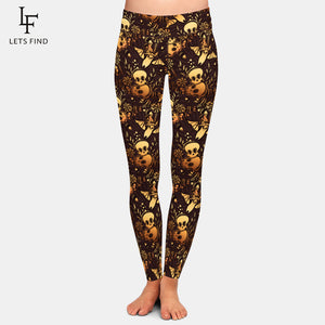 "LetsFind High Waist Herbst Leggings im ""Halloween Bats&Skulls"" Design."