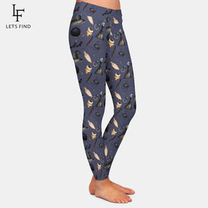 "LetsFind High Waist Herbst Leggings im ""Halloween Salems Wicca"" Design."