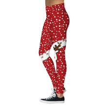 "Laden Sie das Bild in den Galerie-Viewer, Weiche Winter Waist Yoga Leggings im ""Rudolf im Schnee"" Design"