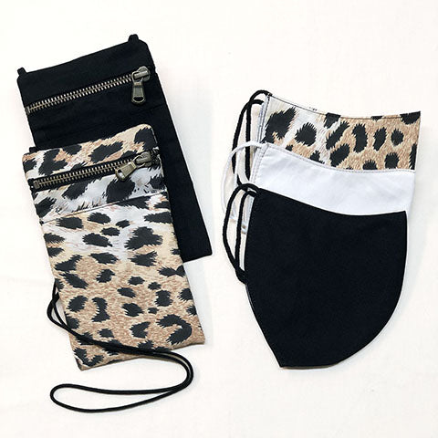 Mask holder and mask in organic cotton from animalier collection made in italy