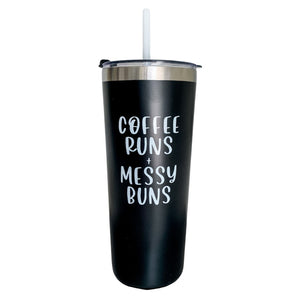Load image into Gallery viewer, Coffee Runs + Messy Buns | Travel Tumbler - Shop Donuts and Daisies