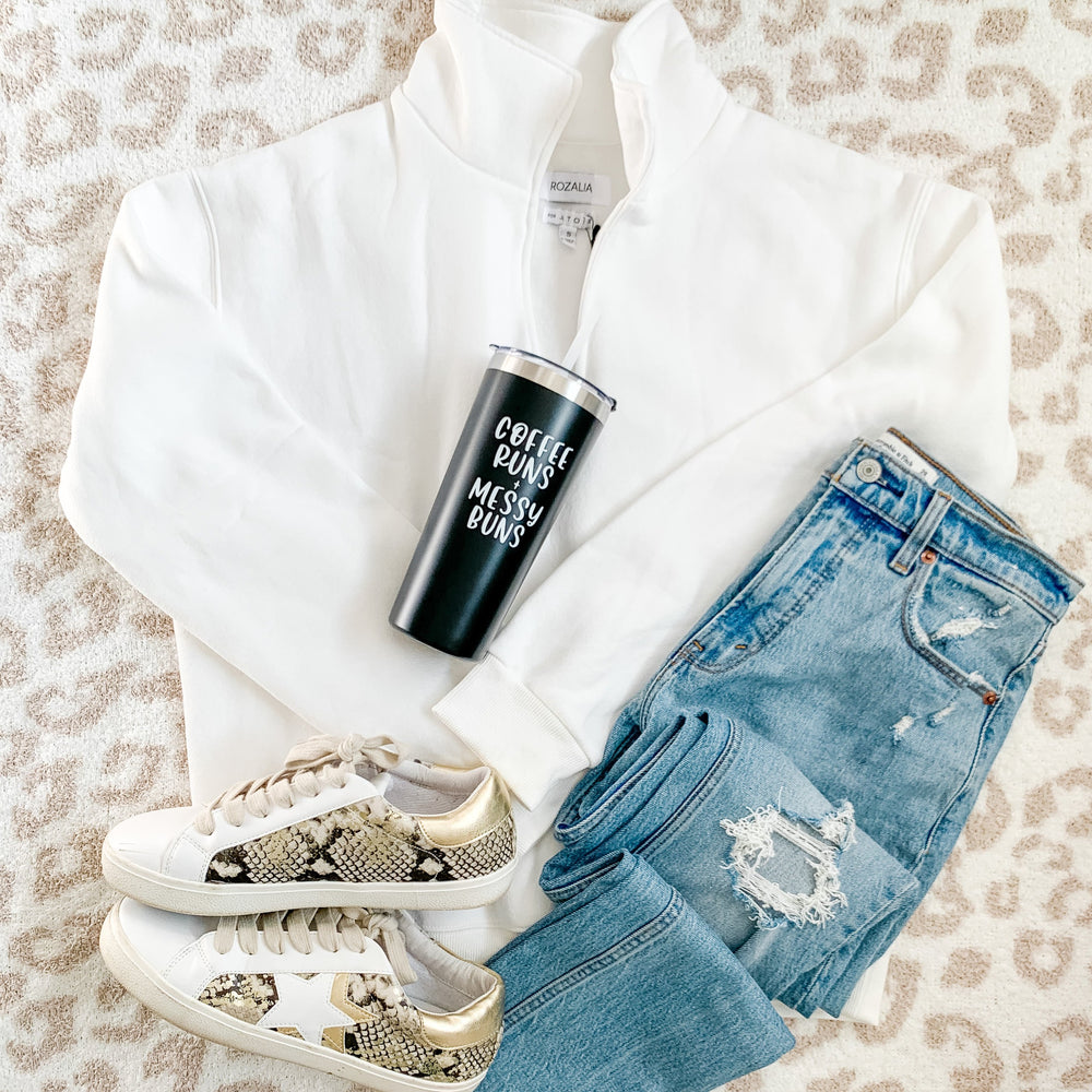 Load image into Gallery viewer, Coffee Runs + Messy Buns Travel Tumbler - Shop Donuts and Daisies