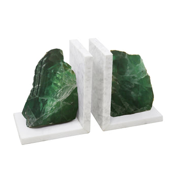 Appealing  Set Of 2 Green Marble Bookends With Agate