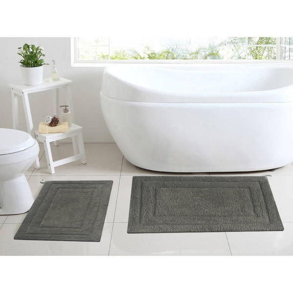 Absorbent Classic 2 Piece Cotton Bath Rug Set, Gray