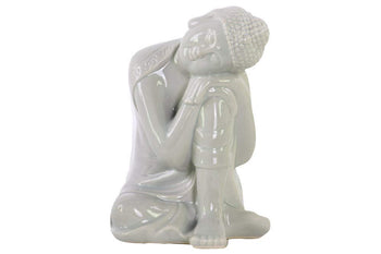 Ceramic Sitting Buddha Figurine With Rounded Ushnisha, Gray