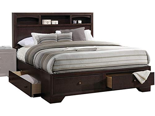 "Twin Espresso Wooden Frame Storage Pu Bed ""71"" X 63"" X 48"""