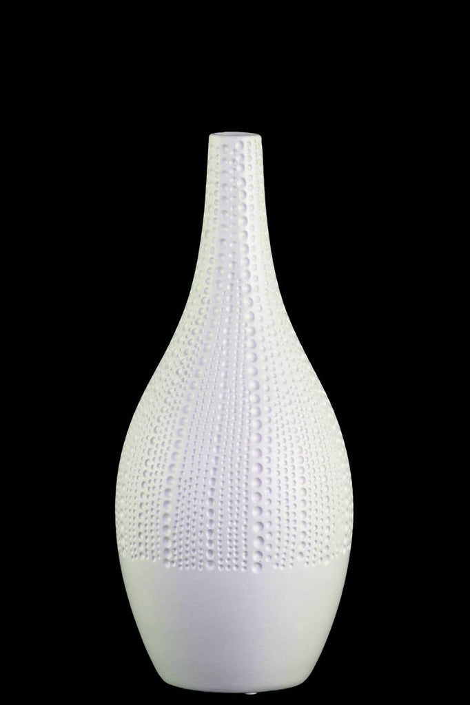 Ceramic Bellied Vase With Dimpled Pattern, Medium, White