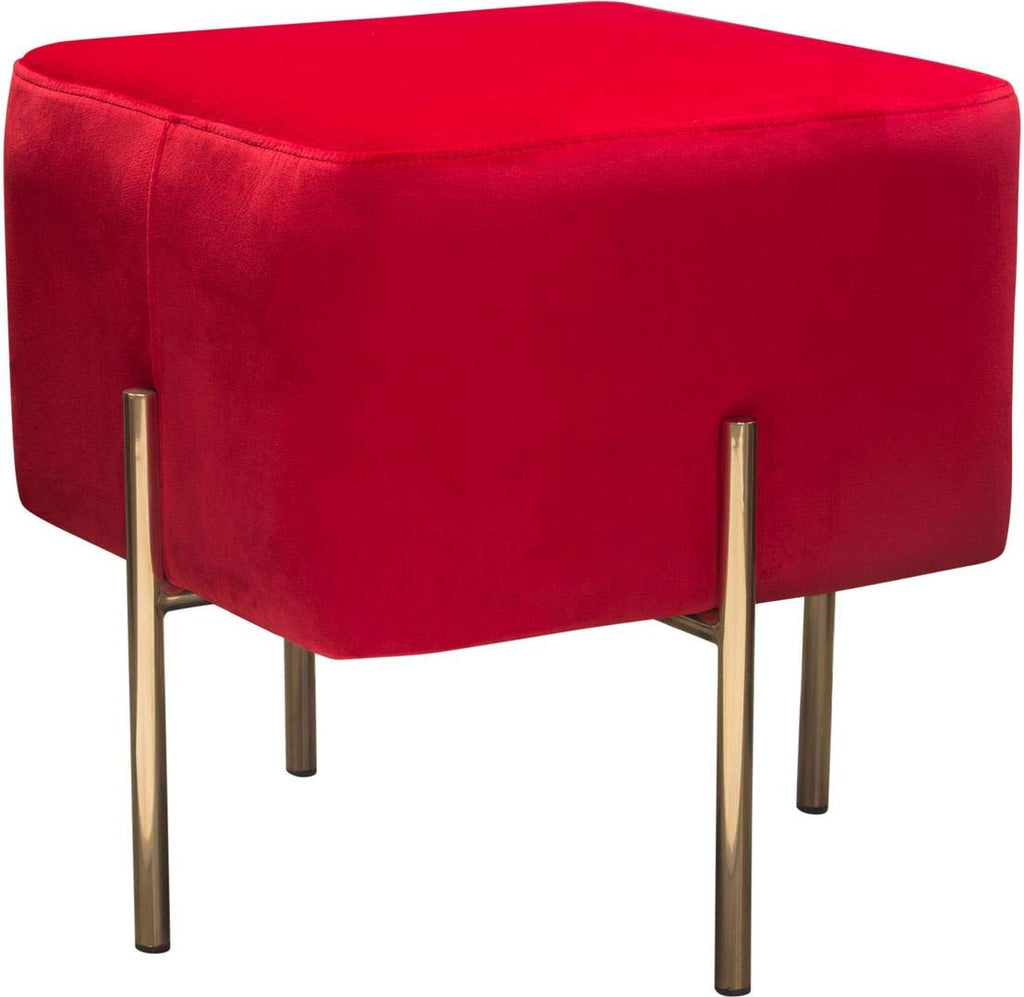 Velvet Upholstered Modern Square Accent Ottoman with Stainless Steel Frame, Red and Gold