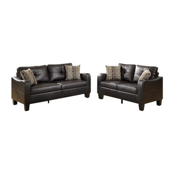 Bonded Leather 2 Piece Sofa Set With Cushioned Seat and Back In Espresso Brown