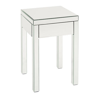 Single Drawer Mirrored End Table, Silver